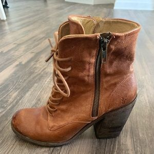 Frye leather lace up heel boot